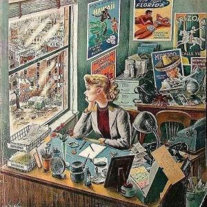 Travel agent at desk, 1949 - Illust. by Constantin Alajalov